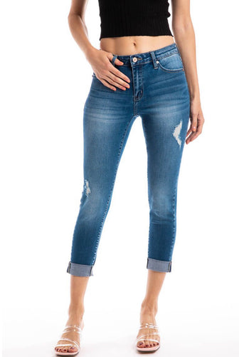 THE AMY MIDRISE CROPPED DISTRESSED DENIM
