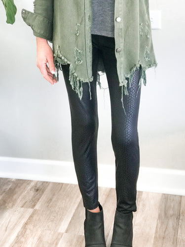 THE SNAKESKIN PRINT FAUX LEATHER LEGGINGS