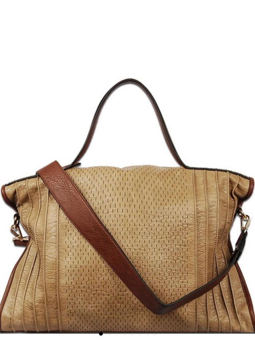FAUX LEATHER ZIP TOP CLOSURE HANDBAG - beige