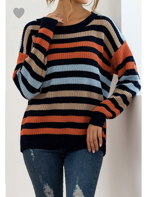 THE JANET STRIPED SHAKER SWEATER