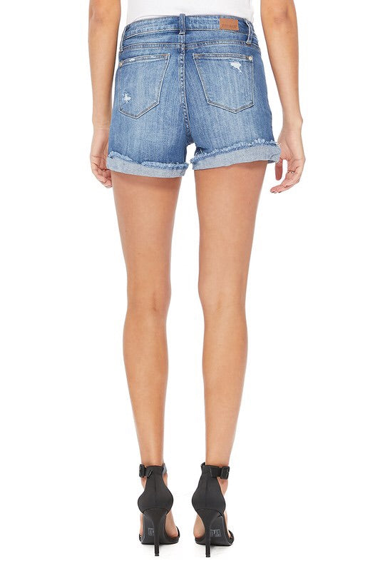 THE JUDY HIGH WAISTED DARK DENIM SHORTS