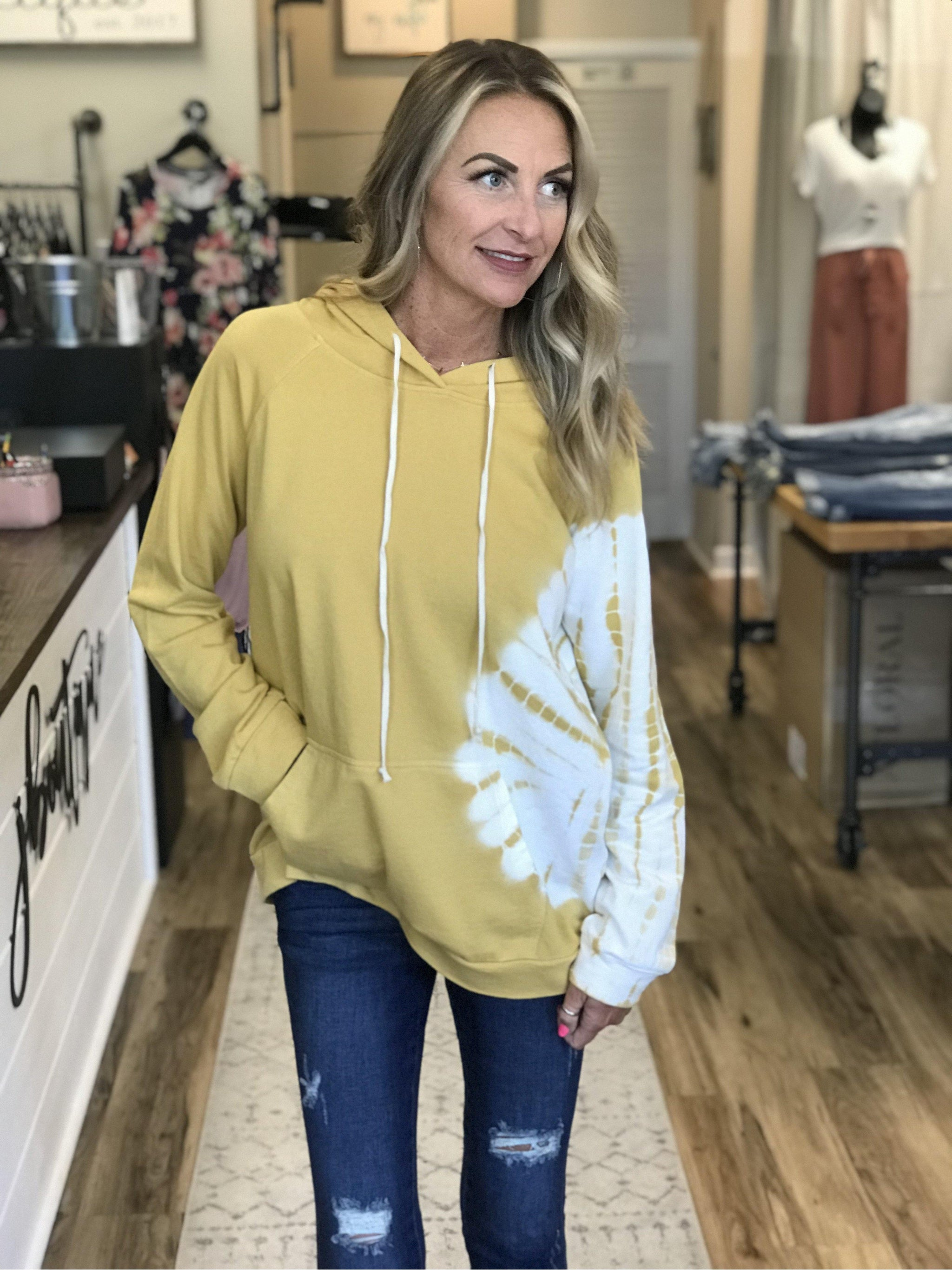 THE LAUREN TIE DYE HOODIE - MUSTARD-Sweatshirts-j boutique