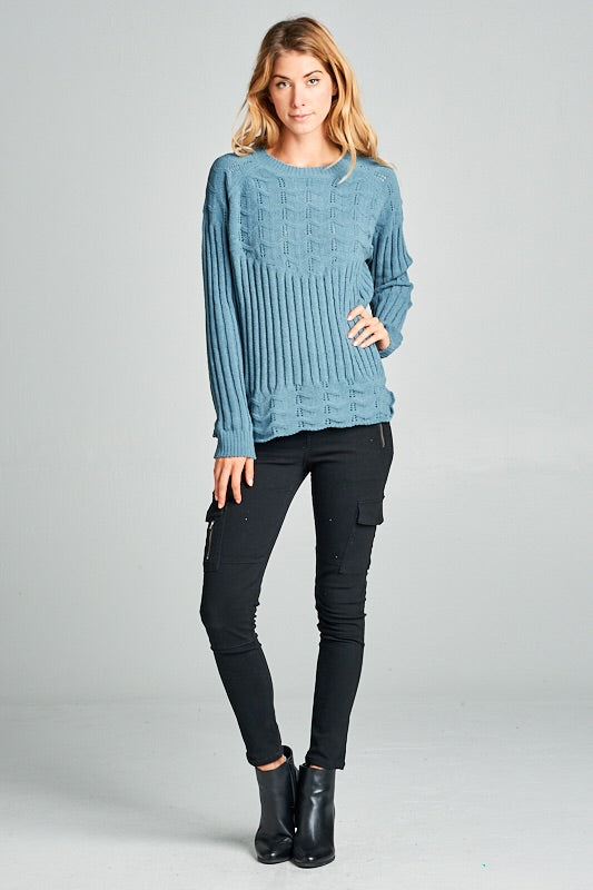TEXTURED SOFT CUTOUT SWEATER - 2 colors