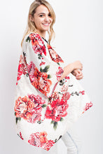 Load image into Gallery viewer, RED FLORAL SHORT KIMONO