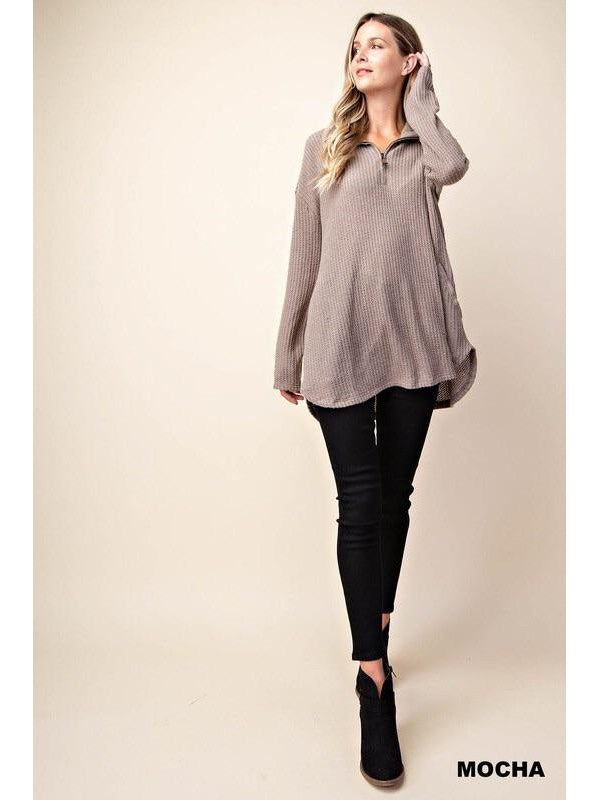 BRUSHED KNIT HALF ZIP TOP