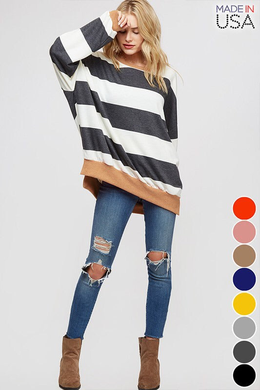 THE SHELLEY OVERSIZED STRIPED TOP - Pink