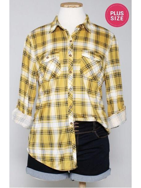 THE CATHY STRETCH PLAID BUTTON UP - PLUS