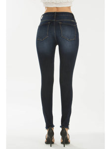 THE LEANN DARK WASH DISTRESSED DENIM