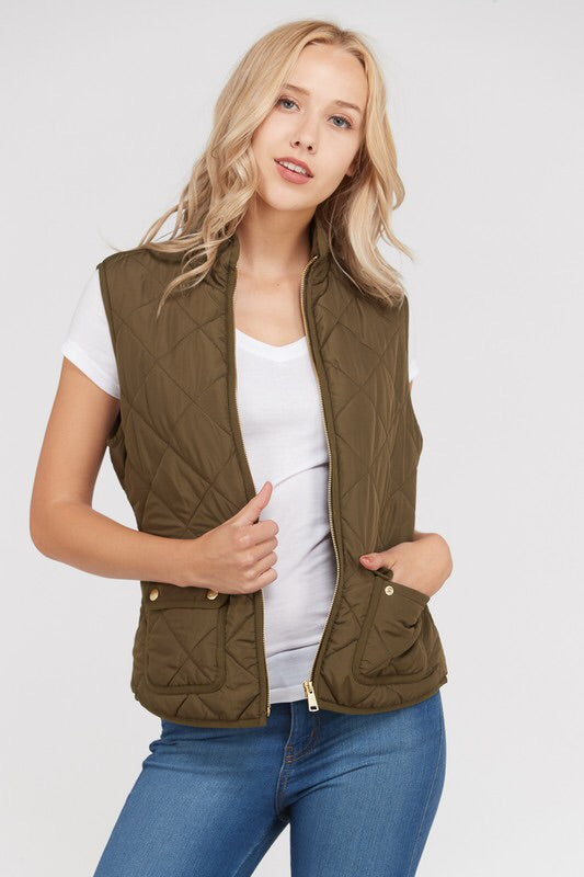 PADDED DETAIL POCKET VEST - 3 colors