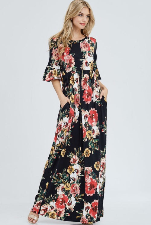 FLORAL 3/4 SLEEVE MAXI DRESS
