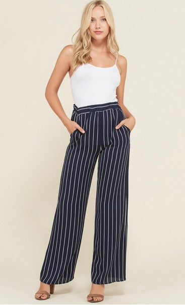 THE SAYLOR NAVY STRIPED PALAZZO PANTS