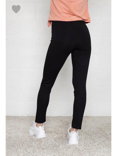 THE JANE THICK BLACK KNIT PANTS
