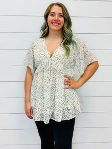 THE ERIN POLKA DOT RUFFLE BLOUSE