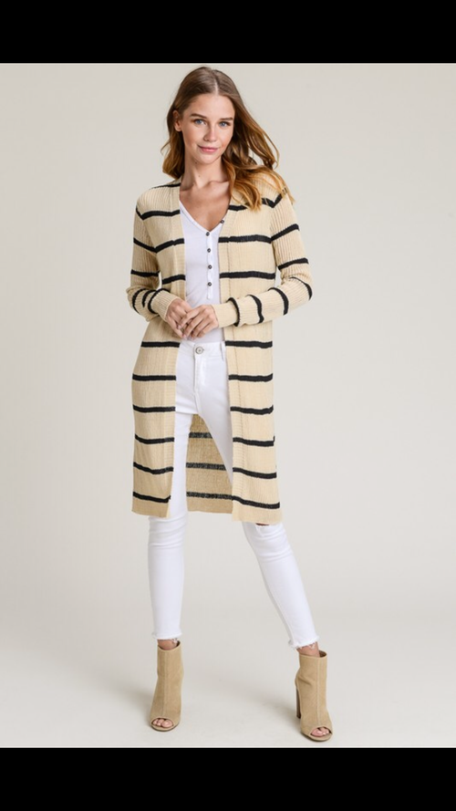 STRIPED THIN DUSTER CARDIGAN