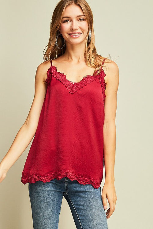 PERFECT RED LACE CAMI