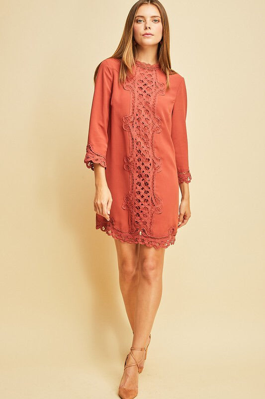 EMBROIDERED SHIFT DRESS - 2 colors