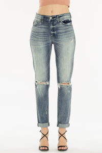 THE CAMERYN SLIGHTLY DISTRESSED BOYFRIEND DENIM