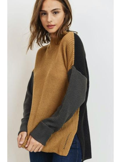 THE MADDIE COLORBLOCK MOCK NECK SWEATER
