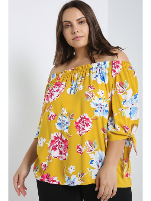 FLORAL OFF THE SHOULDER TIED SLEEVE TOP