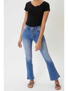 THE KATHERINE BUTTON UP FLARE DENIM