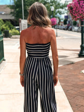 Load image into Gallery viewer, THE RACHEL SMOCKING STRIPED CROPPED JUMPSUIT - navy blue