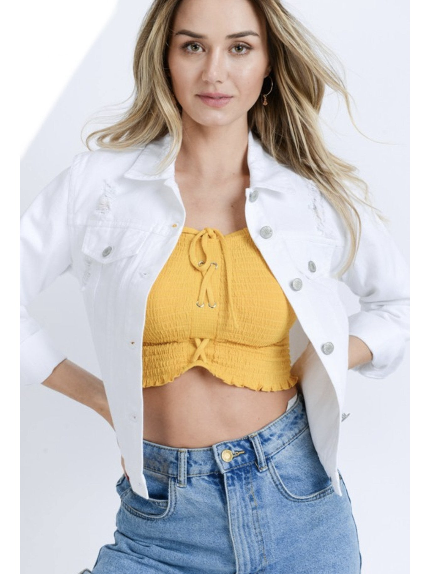 THE KIRSTEN PERFECT DISTRESSED WHITE DENIM JACKET