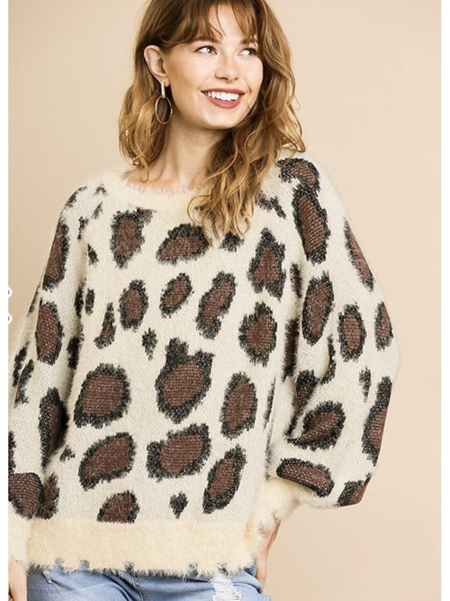 THE CAM LEOPARD FUZZY SWEATER