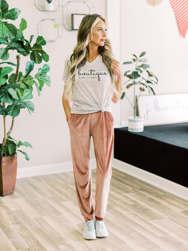 THE VIV BLUSH VELVET JOGGERS