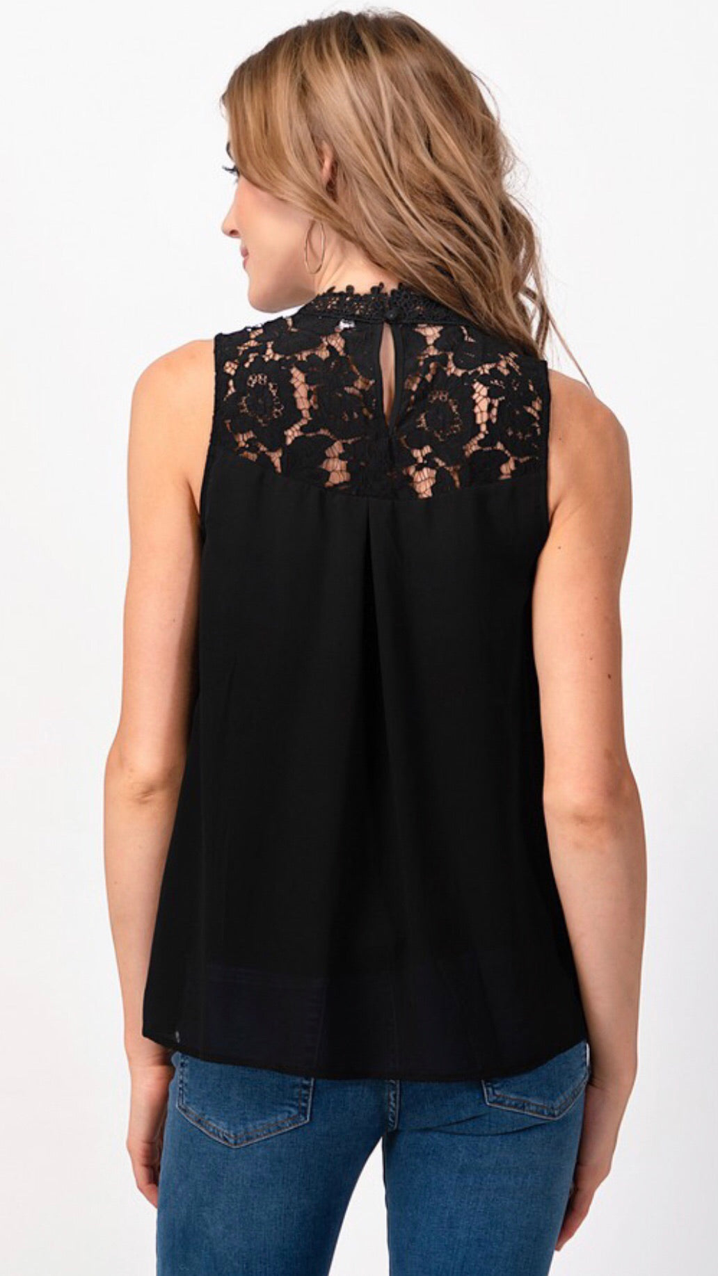 HIGH NECK ROMANTIC TOP WITH LACE - 2 COLORS