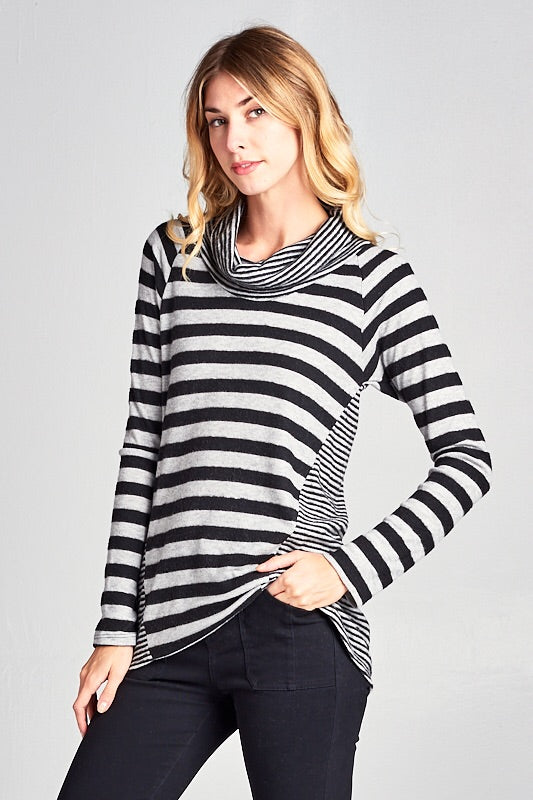 SOFT STRIPED COWL NECK TOP -Grey