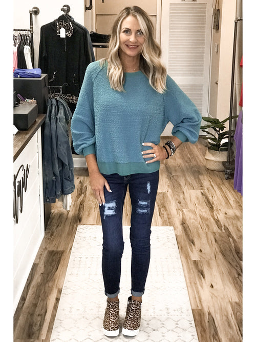THE CORA PUFF SLEEVE SWEATER - turquoise