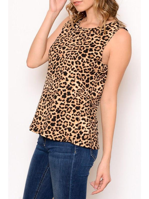 THE LEE LEOPARD SLEEVELESS BLOUSE