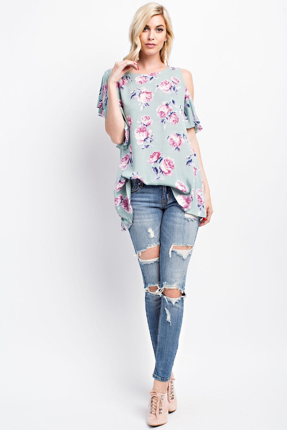 FLORAL PRINT ASYMMETRICAL TOP