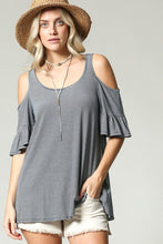 Load image into Gallery viewer, THE CATIE PINSTRIPE COLD SHOULDER