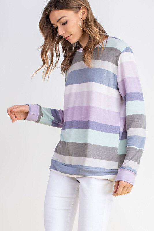 STRIPED FRENCH TERRY LIGHTWEIGHT TOP - LAVENDER