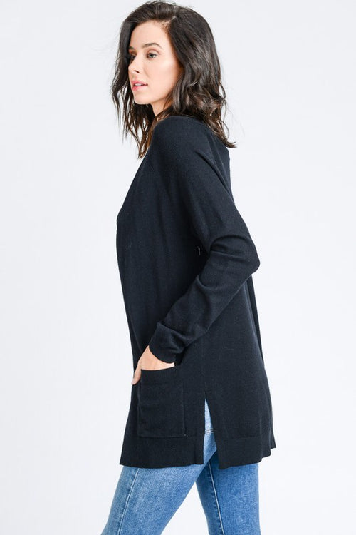 LIGHTWEIGHT MIDI CARDIGAN - BLACK