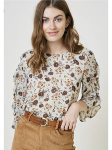 THE GRACE FLORAL RUFFLE BLOUSE