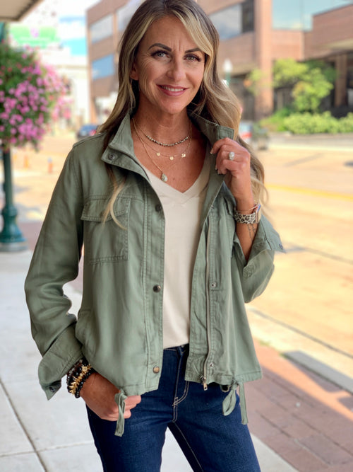 THE GEORGIA TENCEL DRAWSTRING JACKET