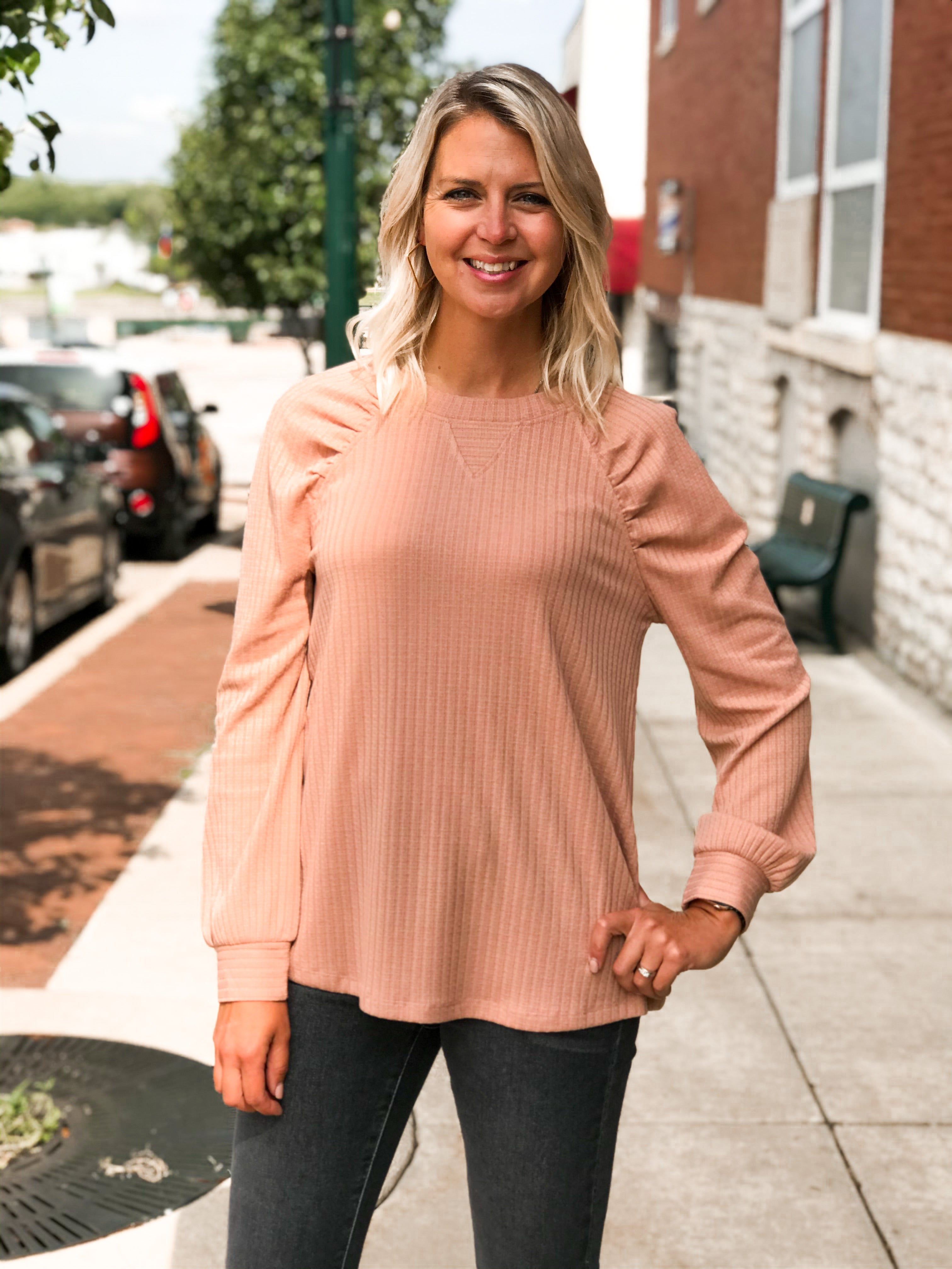 THE MICHELLE POINTELLE RAGLAN PUFF SLEEVE TOP
