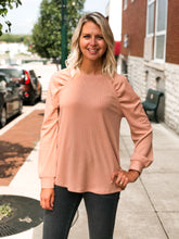 Load image into Gallery viewer, THE MICHELLE POINTELLE RAGLAN PUFF SLEEVE TOP
