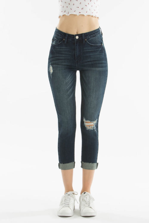 THE SYDNEY MID TO HIGH RISE DARK CROPPED DENIM