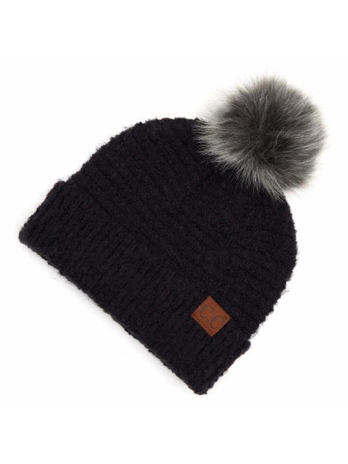 CC SOLID BOUCLE KNIT BEANIE WITH POMS
