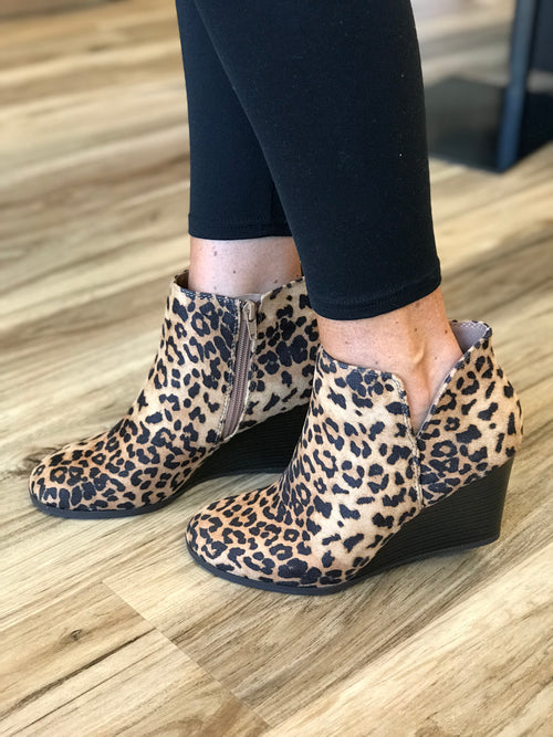 THE LEO LEOPARD WEDGE BOOTIE