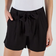 Load image into Gallery viewer, THE BROOKE BELTED RAYON SHORTS - black