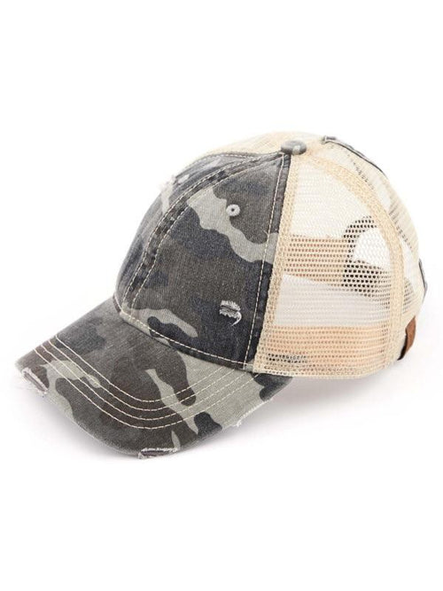GREY CAMO CC PONYTAIL HAT