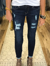 Load image into Gallery viewer, THE ROSIE DARK DISTRESSED CUFFED DENIM