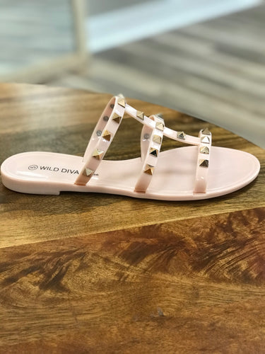 THE STUDDED SANDAL - blush/nude