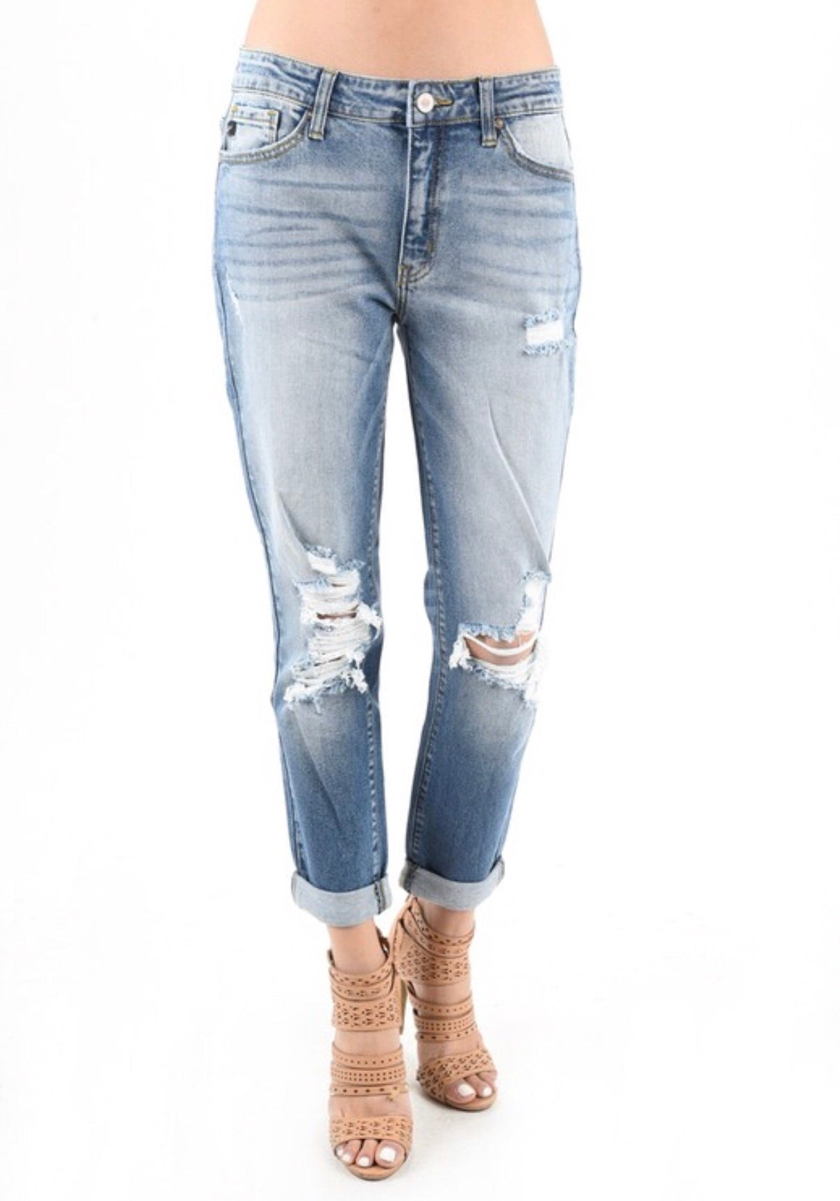 THE SHANNON DISTRESSED BOYFRIEND FIT DENIM
