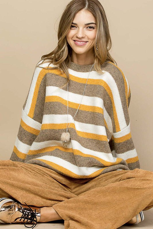 STRIPED OVERSIZED DISTRESSED SWEATER