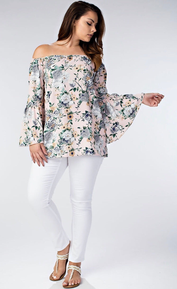 FLORAL BELL SLEEVE TOP - 3 COLORS